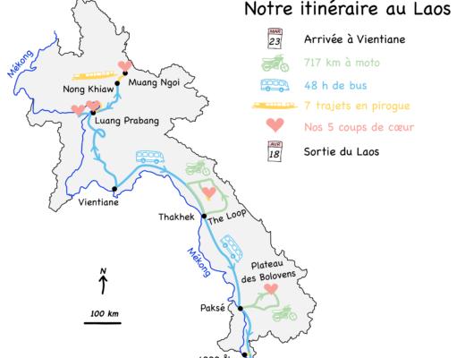 Notre bilan du Laos, trajet : bus, pirogue, moto, et nos coups de coeur